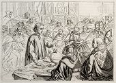 picture of christopher columbus  - Christopher Columbus showing his projects to Salamanca council - JPG