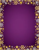 Purple Christmas Card With  Border Of Golden And Silver Glittering Snowflakes And Stars, Vector Illu poster