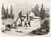 Hypogeum near Cortona old view, Italy: etrurian tomb known as Tanella di Pitagora. By unknown author, published on Magasin Pittoresque, Paris, 1843 poster