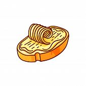 Bread And Butter Hand Drawn Vector Color Illustration. Doodle Breakfast Clipart. Lunch Snack. Cartoo poster