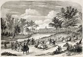Jardin d'Acclimatation old view, Bois de Boulogne, Paris. Created by Provost, published on L'Illustr