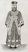 picture of deacon  - Old illustration of Greek orthodox lower deacon vestment - JPG