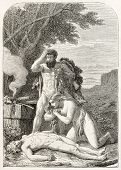stock photo of adam eve  - Adam and Eve keep watching dead Abel - JPG