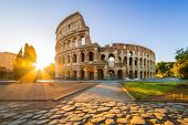 Colosseum At Sunrise, Rome, Italy, Europe. Rome Ancient Arena Of Gladiator Fights. Rome Colosseum Is poster
