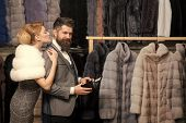 Purchase, Business, Moneybags. Fashion And Beauty, Winter, Fur. Date, Couple, Love, Man And Woman. W poster