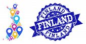 Compositions Of Bright Map Of Finland And Grunge Stamp Seal. Mosaic Vector Map Of Finland Is Formed  poster