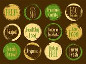 Vector Organic Labels, Bio Emblems For Restaurants Menu, Natural Products Packaging. Fresh, Raw Food poster