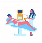 Flat Modern Illustration For Laser Hair Removal, Cosmetology, Medicine On White Background. The Girl poster