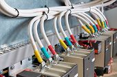 A Large Bundle Of Electrical Cables Or Wires Connected To Contactors. High-power Magnetic Starters.  poster