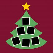 Christmas Tree With Photos, Blank Frames. Vector Template With Pictures To Insert poster