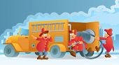foto of fire truck  - cartoon illustration of three fireman in action - JPG
