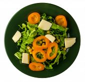 Salad Of Cheese, Lettuce, Corn, Pepper Isolated On White Background. Vegetarian Salad On A Plate. Ve poster