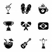 Brazil Leisure Icons Set. Simple Set Of 9 Brazil Leisure Vector Icons For Web Isolated On White Back poster