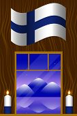Independence Day Of Finland. The Concept Of A National Holiday. Flag Of Finland. Window Overlooking  poster
