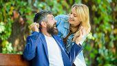 Surprise For Him. Romantic Concept. Man Wait Girlfriend. Park Best Place For Romantic Date. Couple I poster