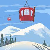 Mountain Cabel Car. Retro Ski Cabelway Icon. Mountain Snow Ski Resort Poster Background Concept. Win poster