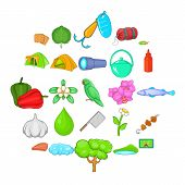 Tourist Trails Icons Set. Cartoon Set Of 25 Tourist Trails Icons For Web Isolated On White Backgroun poster