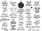 Set Of 25 Christmas Hand Lettering Inscription To Winter Holiday Greeting Card, Christmas Banner Cal poster