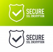 Secure Connection Icon Vector Illustration Isolated On White Background, Flat Style Secured Ssl Shie poster