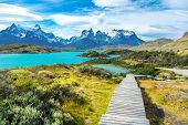 Pehoe Lake And Guernos Mountains Beautiful Landscape, National Park Torres Del Paine, Patagonia, Chi poster