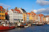 Nyhavn district of the Copenhagen city (Denmark)