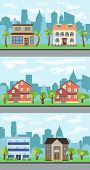 Set Of Three Vector Illustrations Of City Street With Cartoon Houses And Trees. Summer Urban Landsca poster