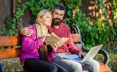 Man And Woman Use Different Information Storage. Couple Spend Leisure Reading. Information Source Co poster