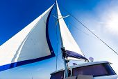 White Sails Of A Sailing Yacht In The Wind poster