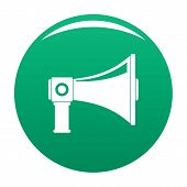 Single Megaphone Icon. Simple Illustration Of Single Megaphone Vector Icon For Any Design Green poster