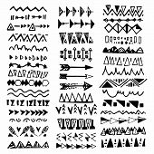 Collection Of Handdrawn Borders In Ethnic Style. Aztec Art Dividers.ink Borders. Vector Dividers. poster