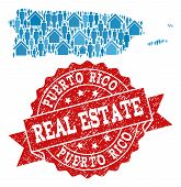 Real Estate Composition Of Blue Mosaic Map Of Puerto Rico And Scratched Seal. Vector Red Imprint Wit poster