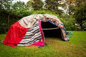 Traditional Native Sweat Lodge With Hot Stones poster