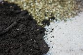 Soil For Growing Cannabis. Close Up . Substrate For Marijuana. A Mixture Of Earth, Perlite And Vermi poster