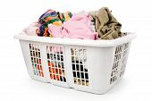 foto of dirty-laundry  - laundry basket and dirty clothing with white background - JPG