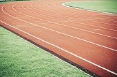 Running Track For Athletic Competition Texture. Race For Training Sport With Lane Background Copy Sp poster