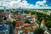 Panoramic View Of Old Town Tallinn With Towers And Walls, Estonia poster