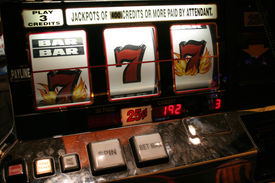 stock photo of slot-machine  - almost a winner at the slots - JPG