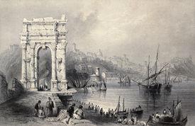 pic of luigi  - Antique illustration of Arco di Traiano in Ancona - JPG