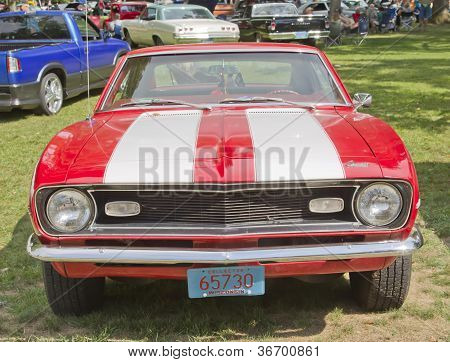 Red White Chevy Camaro 327 Front View