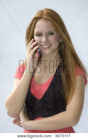 Girl On Phone Smiling