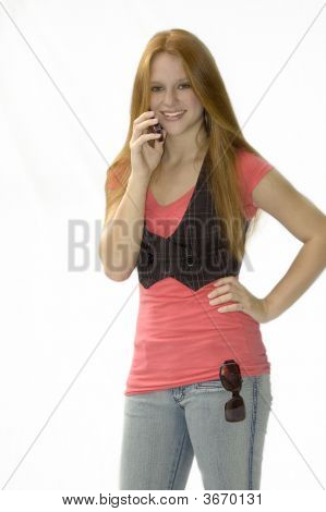 Girl On Phone With Hand On Her Hip