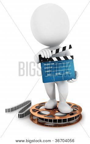 3d white people holding a movie clapper