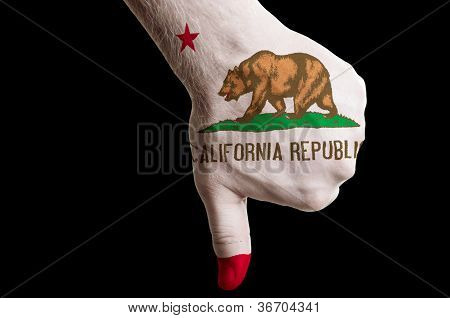 California Us State Flag Thumbs Down Gesture For Failure Made With Hand