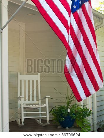 Flag And Rocking Chair