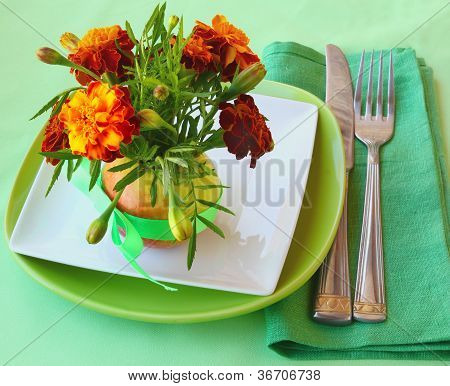 Serving With Marigolds