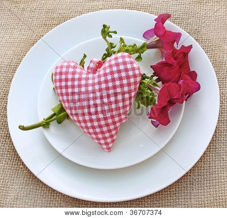Romantic Serving With A Bouquet Of Petunia And Heart
