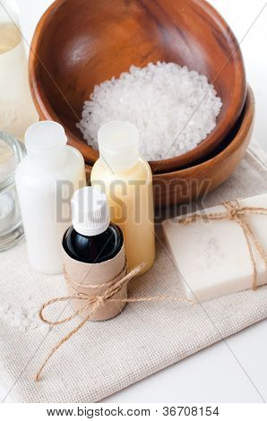 Close-up Of Products For Spa And Body Care