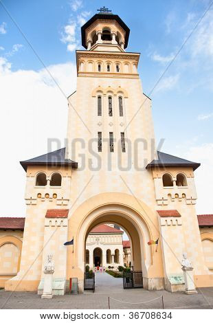 Tower of Coronation Cathedral in Alba Iulia, Romania