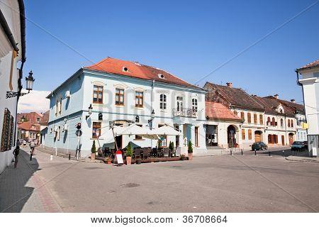 Mian square with old architecture in Medias, Transylvania, Romania