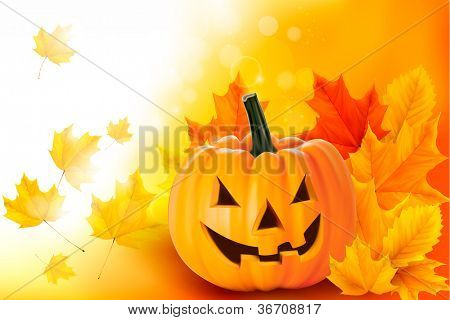 Scary Halloween pumpkin with leaves. Vector.